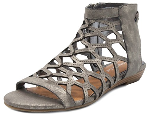Demi Wedges - Rampage Women's Savanna Demi Wedge with Honeycomb Cutouts and Zip Up Ankle High Gladiator Sandal 8.5 Pewter