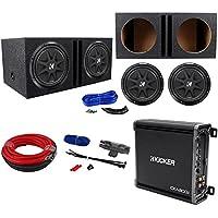 (2) KICKER 43C124 Comp 12 600w Car Subwoofers+Amplifier+Amp Kit+Vented Sub Box