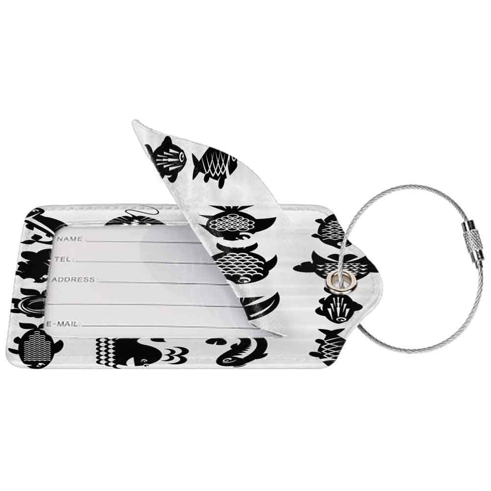 Multicolor luggage tag Animal Various Type of Fish Icons Angelfish Butterflyfish Anemonefish Aquatic Fauna Image Hanging on the suitcase Black White W2.7 x L4.6