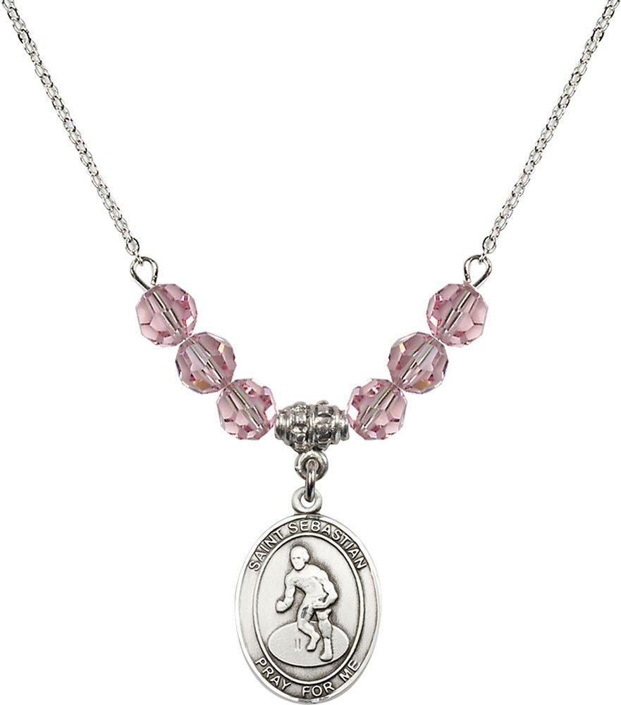 Rhodium Plated Necklace with 6mm Light Rose Birthstone Beads & Saint Sebastian/Wrestling Charm.