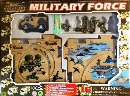 - Puzzle Car Set -- Battery Operated Military Force Radar Jammer
