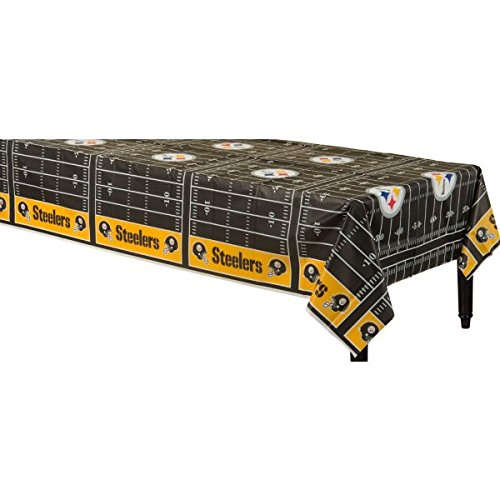 Pittsburgh Steelers NFL Football Sports Party Table Cover, 1 Piece, Made from Plastic, Any Party, 54'' x 102'' by Amscan