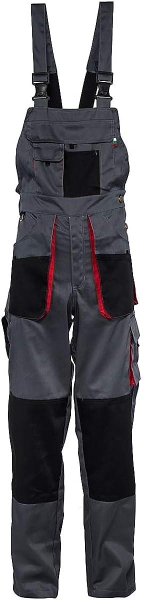 Grau//Rot//Schwarz Stenso Torin/® Herren Arbeitslatzhose f/ür die Arbeit mit vielen Taschen