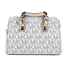 Michael Kors MD Grayson Satchel Handbag Signature MK Vanilla PVC with Cross Body Strap