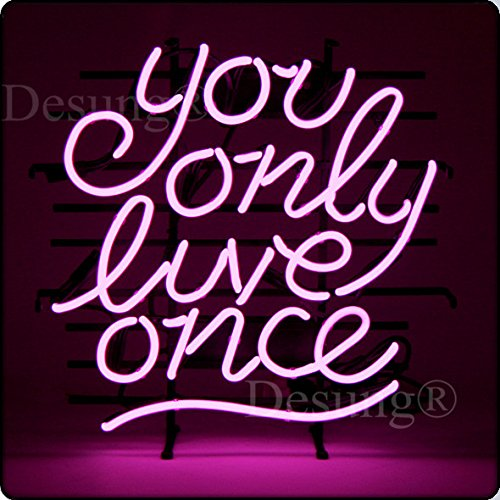 Desung New 24''x20'' You Only Live Once Neon Sign Man Cave Signs Sports Bar Pub Beer Neon Lights Lamp Glass Neon Light DX18