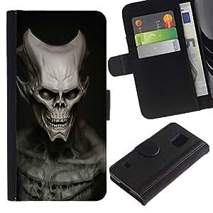 KLONGSHOP // Tirón de la caja Cartera de cuero con ranuras para tarjetas - Cráneo malvado - Samsung Galaxy S5 V SM-G900 //