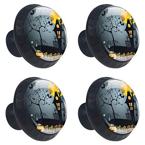 DEYYA 4 PCS Moonlight Pumpkin Witch Halloween Spooky Trick Or Treat Artistic Crystal Glass Drawer Knob Pull Handle 30mm Ergonomic Circle Furniture Cabinet Handle for Kitchen Dresser Cupboard Wardrobe -