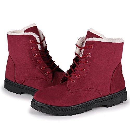 Susanny Suede Flat Platform Sneaker Shoes Plus Velvet Winter Women's Lace Up Red Cotton Snow Boots 9.5 B (M) ()