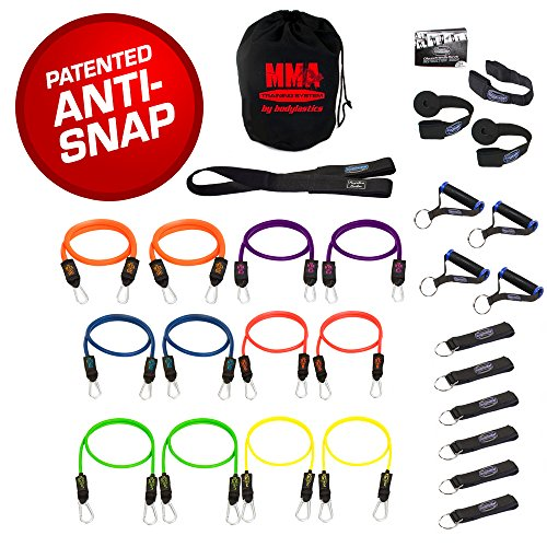 CHSTAR Bodylastics 28 pcs Resistance Bands SetMMA Training with 12 Stackable Anti-snap Exercise Tubes, Heavy Duty Components, Carrying case, and Printed Instructions for Over 100 Exercises.