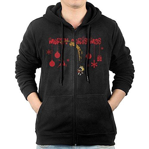 [MNB Men's Calvin And Hobbes Christmas Zip-Up Sweatshirt Jackets Black Size S] (Calvin And Hobbes Couple Costume)
