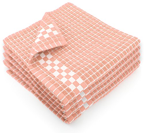 - Fecido Classic Dark Kitchen Dish Towels with Hanging Loop - Heavy Duty Absorbent Dish Clothes - European Made 100% Cotton Tea Towels - Set of 4, Pink
