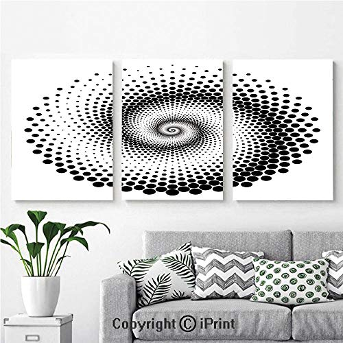 (Canvas Prints Modern Art Framed Wall Mural Black Dots Forming a Spiral Shape Monochrome Circle Twist Optical Art Elements Decorative for Home Decor 3 Panels,Wall Decorations for Living Room Bedroom)