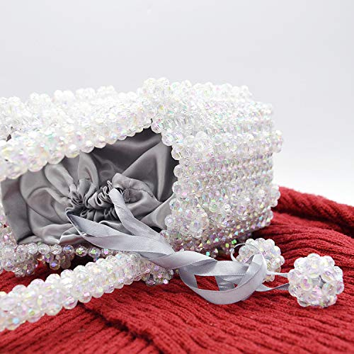 Miuco Womens Beaded Handbags Handmade Weave Crystal Pearl Tote Bags Transparent by Miuco (Image #4)