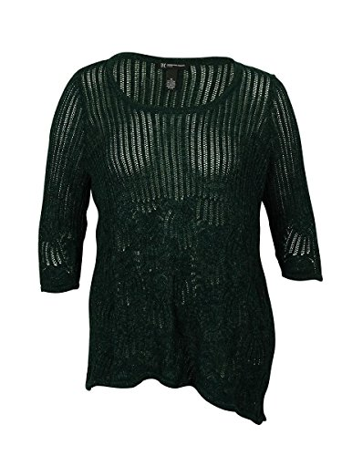 INC International Concepts Womens Metallic Knit Tunic Sweater, Hunter Forest, 0X