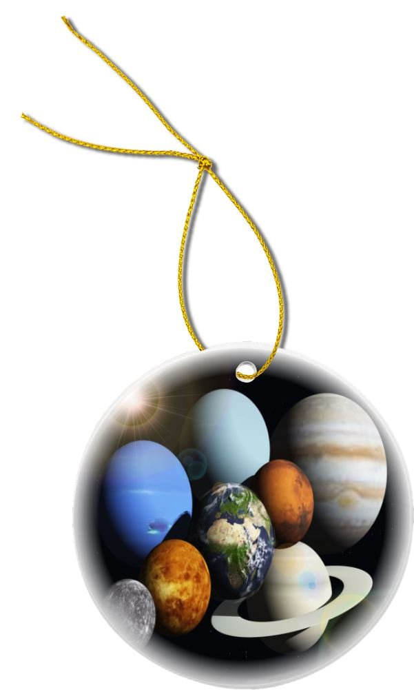 Rikki Knight Solar System Planets Design Round Porcelain Christmas Ornaments (Two-Sided)