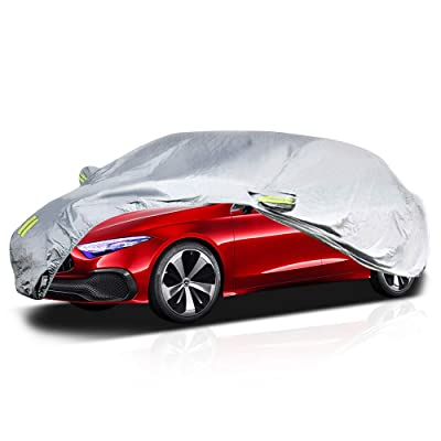 """MNJ Motor Universal Car Cover, Outdoor Sedan Cover Waterproof Windproof All Weather Scratch Resistant UV Protection with Adjustable Buckle Straps for Sedan Wagon Use (177"""" - 191""""): Automotive"""