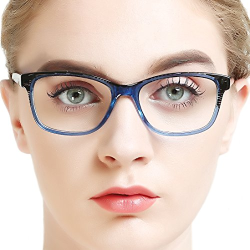 Eyewear Frames-OCCI CHIARI-Non-prescription Clear Lens Eye Glasses(BLACK STRIPE/BLUE, 53)