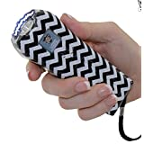 # 1 Ranked Ladies Back to School Stun Gun 21 Million Volt Rechargeable LED Flashlight with Loud Alarm Disable Pin, Black/White Stripe, Perfect Size Triple Mode Protection