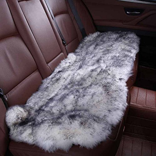 Rownfur Luxurious Genuine Australian Sheepskin Non-Slip Car Seats Cushion Cover Soft Thick Natural Fur Wool Chair Pad (1 Back Seat 132length2widthcm) (gray) by Rownfur