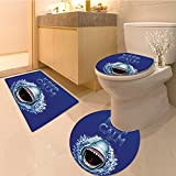 3 Piece Anti-slip mat setKeep Calm And Shark Jaws Attack Predators Hunter Dangerous Wild Extralong Non Slip Bathroom Rugs