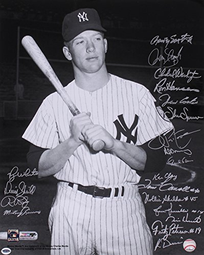 MICKEY MANTLE 16x20 PHOTO MULTI SIGNED BY PINIELLA PEPITONE RIVERS WHITE BLAIR +