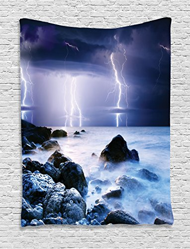 Lake House Decor Tapestry by Ambesonne, Summer Storm Flashes Over The Rocks In Ocean Nightmare Theme Weather Nature Image, Bedroom Living Room Dorm Decor, 40Wx60L Inches, Purple and Blue