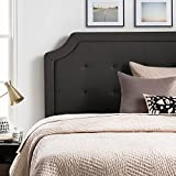 LUCID Upholstered Headboard Square Tufting Scalloped Edges - Twin/Twin XL - Charcoal