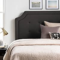 LUCID Upholstered Headboard with Square Tufting and Scalloped Edges - Queen - Charcoal