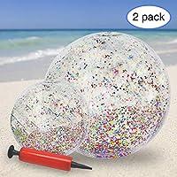 KOMIWOO Glitter Beach Ball, Confetti Beach Ball, Gold Beach Ball Pool Toys for a Kids Summer Party