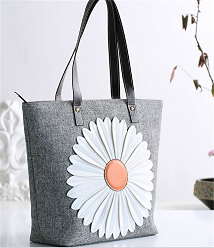 Canvas Shopper Santwo Cotton Beach Tote Double Handbag Grey Leather Flower Strap 100 fnqzE6