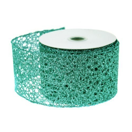 (Metallic Wired Weave Glitter Christmas Gift Wrapping Ribbon 2.5