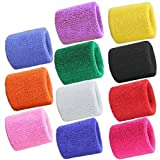WarmShine 22PCS Wrist Sweatband Sport Wristband Cotton Elastic Sweatbands for Fitness Running Basketball Badminton Tennis Fitness,11 Colors
