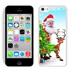2014 Newest iphone 5s PC Case Santa Claus and Deer White iphone 5s Case 2