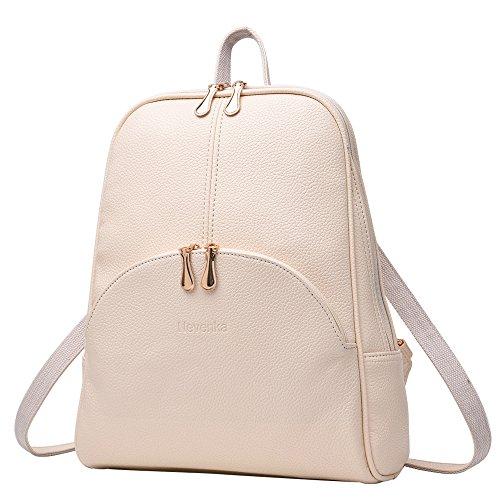 - Nevenka Brand Women Bags Backpack PU Leather Zipper Bags Purse Casual Backpacks Shoulder Bags (WHITE)