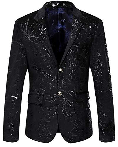 WULFUL Men's Luxury Casual Dress Floral Suit Notched Lapel Slim Fit Stylish Blazer Jacket Party Coats