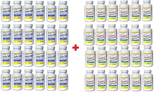 (Pack of 24) Ivory Caps Skin Whitening Lightening 1500mg Glutathione Support Pill + Vitamin C Brightening Plus