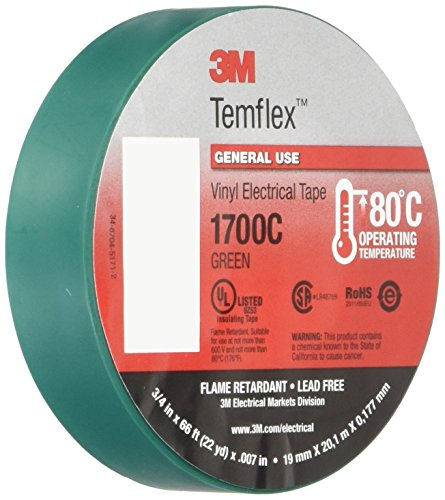 (3M Temflex 1700C Vinyl General Use Electrical Tape, 0 to 180 Degree C, 1000 mV Dielectric Strength, 66' Length x 3/4