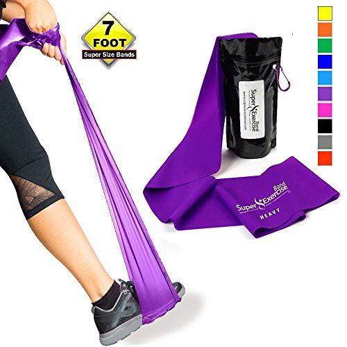 SUPER EXERCISE BAND Heavy PURPLE Resistance Band. Your Home Gym Fitness Equipment Kit for Strength Training, Physical Therapy, Yoga, Pilates, Chair Workout | LATEX FREE For ALLERGIC SAFETY | 7 ft