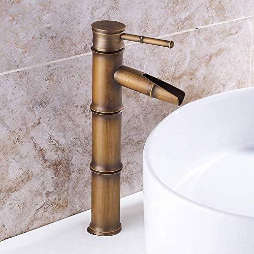 ZT-TTHG 実用的な銅アンティーク竹浴室の洗面台の蛇口の滝の水コンチネンタル単穴ホット&コールドウォーター盆地アート蛇口セットブロンズ美しいです