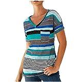 Litetao Women Irregular Blouse Summer Front Pocket Colorful Stripe Color Block Print Short Sleeve T Shirt Tunic Tops