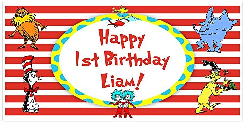 Dr. Seuss Cat in the Hat Birthday Banner Personalized Party - Birthday Party Hat Custom