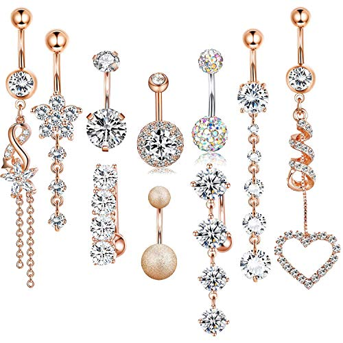 CARSHIER 14 Gauge Dangle CZ Belly Button Rings for Women Girls Beach Barbell Navel Body Piercing Jewelry RG ()