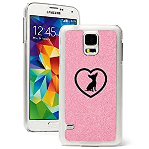 Samsung Galaxy S5 Glitter Bling Hard Case Cover Chihuahua Heart (Pink)