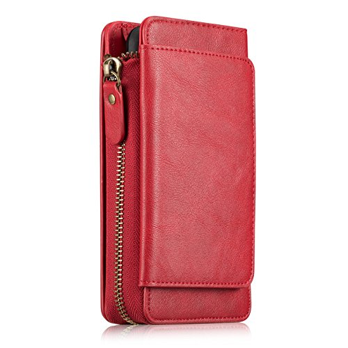 iPhone X Case,Vacio Zipper Card Slots Money Pocket Clutch Cover Wallet Retro Vintage Stand Smart Wallet Credit Billfold Pouch Magnetic Phone Sleeve Case for iPhone X (Red) by Vacio (Image #1)