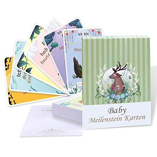 49+1 Baby Meilenstein Karten, bemece Baby Meilensteinkarten für Junge und Mädchen, Baby Fotokarten als schöne Geschenkset zur Geburt, Schwangerschaft, Babyparty order Taufe