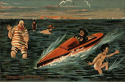 Man in Red Speedboat Rides by Naked man and Large Man in Red and White Striped Bathing Suit Original Vintage Postcard]()
