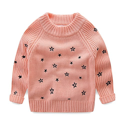 Mud Kingdom Little Girls Pullover Sweaters Cute Embroidered Stars 3T Pink by Mud Kingdom