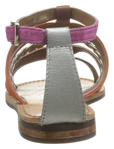 Geox Women's D Sozy E Gladiator Sandals, Silber (Silber/WHITEC0434), 4 Orange (Orange/Platinumc2t2u)