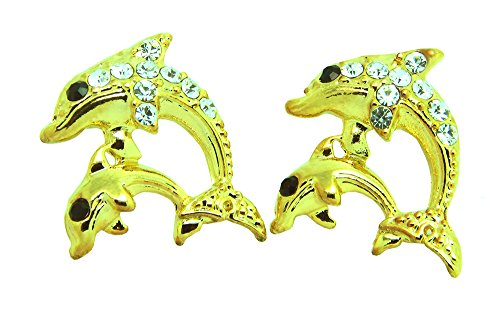 Poonsuk@lucky 24k Gold Plated Lovely Dolphin Stud Earrings on (24k Dolphins Earrings)