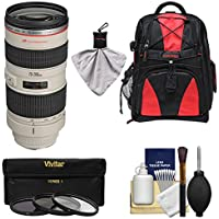 Canon EF 70-200mm f/2.8L USM Zoom Lens with Backpack + 3 Filters + Kit for EOS 6D, 70D, 7D, 5DS, 5D Mark II III, Rebel T5, T5i, T6i, T6s, SL1 Camera